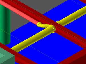 Dettaglio di un progetto BIM dove si vede chiaramente l'interferenza tra una struttura e l'elemento di un impianto