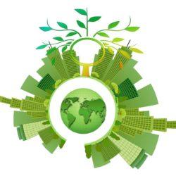 Infografica che mostra un mondo alternativo in cui le opere del genio civile convivono con l'ambiente
