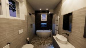 rendering del bagno nella villetta di Lorenzo Pede, all'interno della modellazione BIM