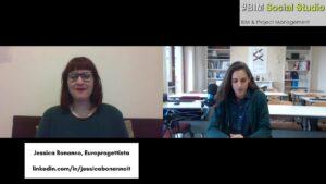 Jessica Bonanno in videocall con Flavia Antonelli per un'intervista sull'europrogettazione