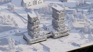 foto di un rendering di un grattacielo realizzato con il software Enscape